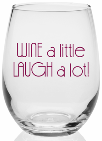 Wine A Little, Laugh A Lot Stemless Wine Glass Image