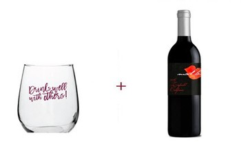 Drinks Well With Others Stemless Wine Glass + Mad Love Zinfandel Free Gift ($42 Value)