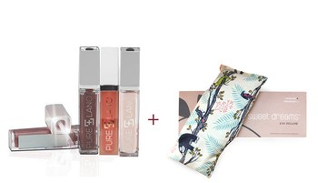 Pure Lano Natural Hydrating Lip Gloss, Assorted Colors + Sweet Dreams Eye Pillow Gift