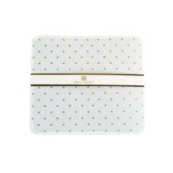 Mary Square - Designer Mouse Pad - White with Polkadots
