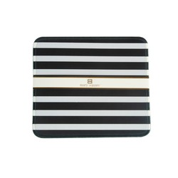 Mary Square - Designer Mouse Pad - White and Black Stripe