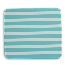 Mary Square - Designer Mouse Pad - White and Teal Stripe